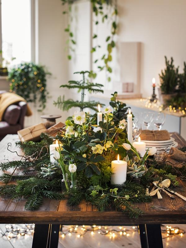 Plantagen dukning grön jul 2