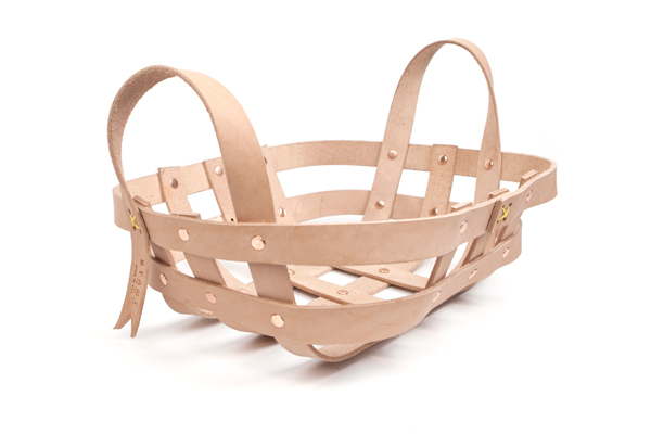 läderkorg leather strap basket