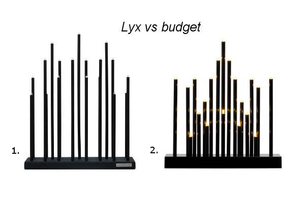 lyx vs budget elflugan adventljusstake trendspanarna