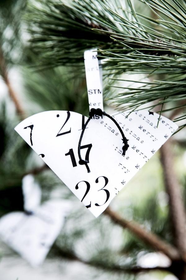 diy svart och vit jul christmas hänge