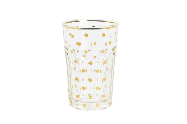 högt glas med guldprickar