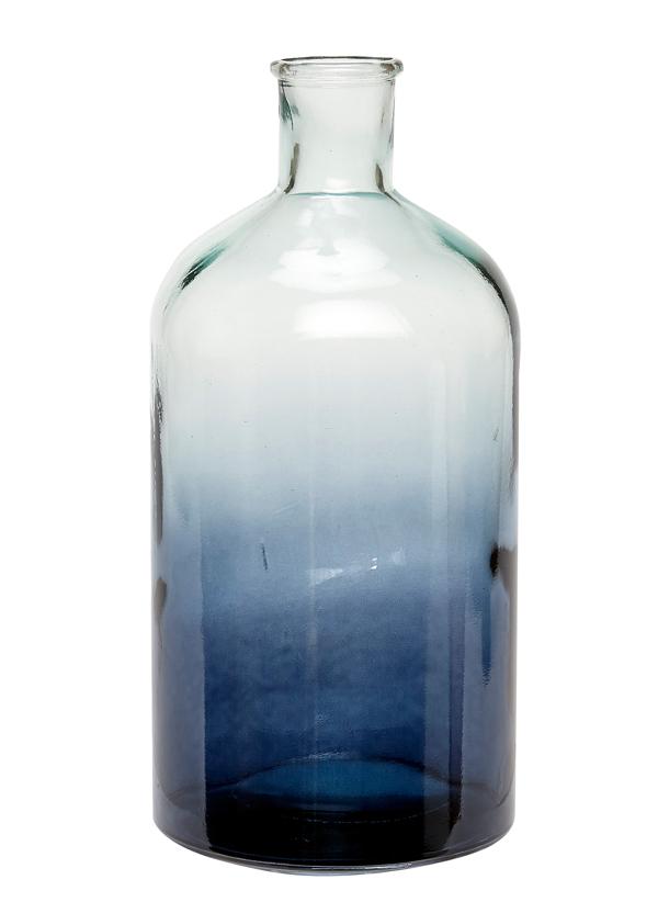 Stor blå vas i form av flaska