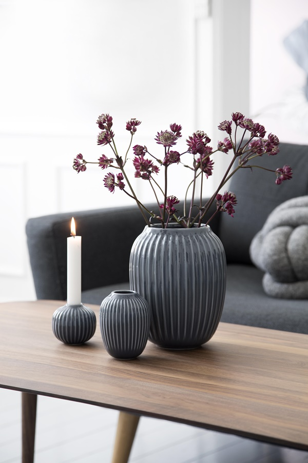 Hammershøi Vase H200 and H100 Anthracite and Candle Holder H65 Anthracite_High resolution JPG_232100