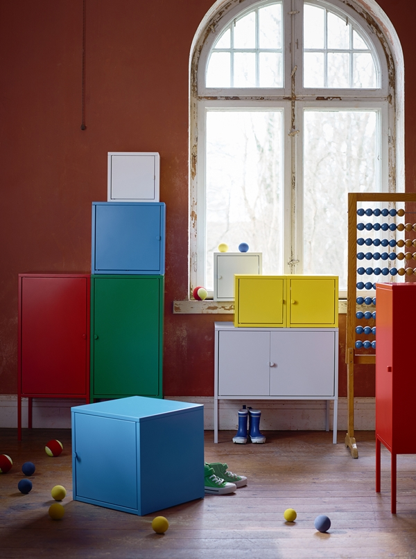 IKEA_LIXHULT_miljo_skap_bla_gul_vit_rod
