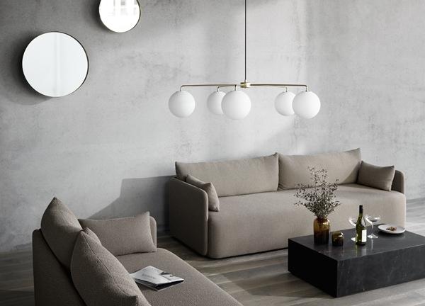 MENU Offset Sofa, TR Bulb, Darkly Mirror, Plinth