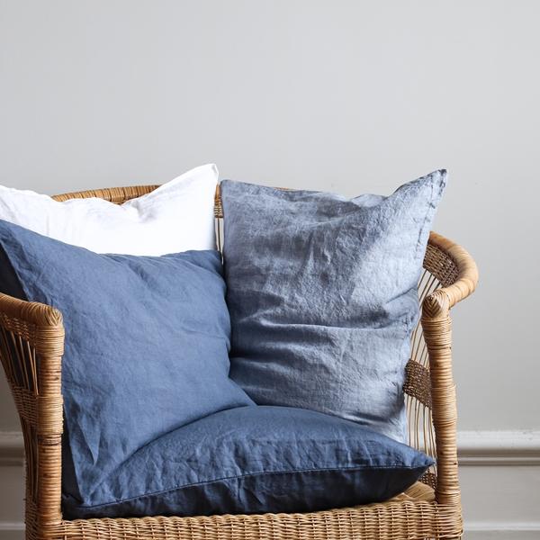 Linen navy blue and woven light blue