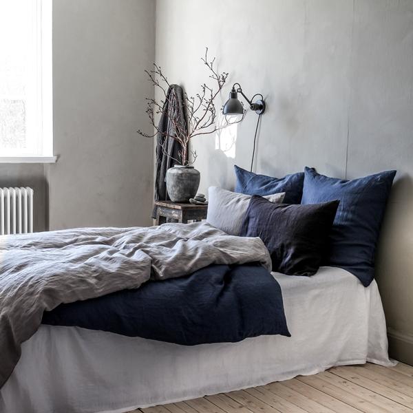 Linen light grey, navy blue