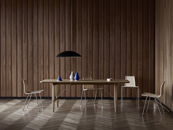 Mogensen_BM1160_Hunting-Table-Oak_Kjaerholm_PK1-Wicker_Calot-Black